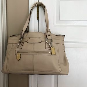 Coach Beige pebble leather carryall large tote